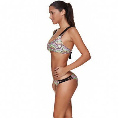 Glorious Printed Lace Up Back Plus Size Lingerie summer Strappy Swimsuit - Sins & Temptations
