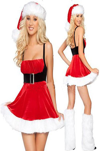 Delightful Mini Cute Belted Waist Ruffles Mrs Santa Outfit Christmas Party Costume Dress - Sins & Temptations