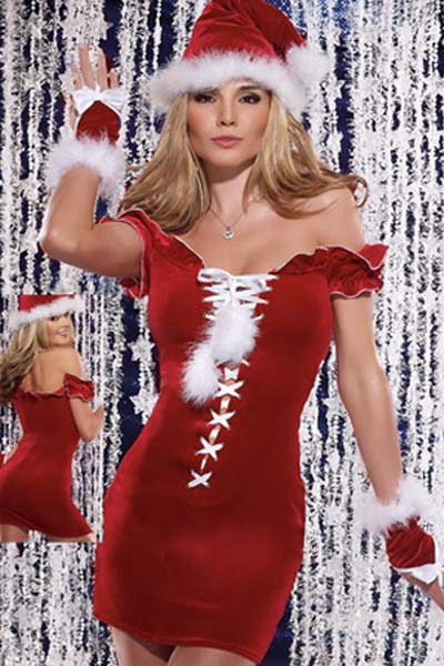 Heartthrob Strapless Lace Up Close Fitting Female Santa Christmas Party Costume Dress - Sins & Temptations