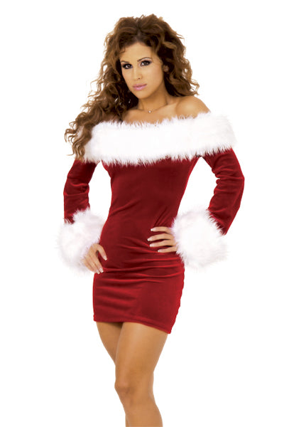 Naughty Plus Size Slash Neck Furry Trim Christmas Party Costume Dress - Sins & Temptations