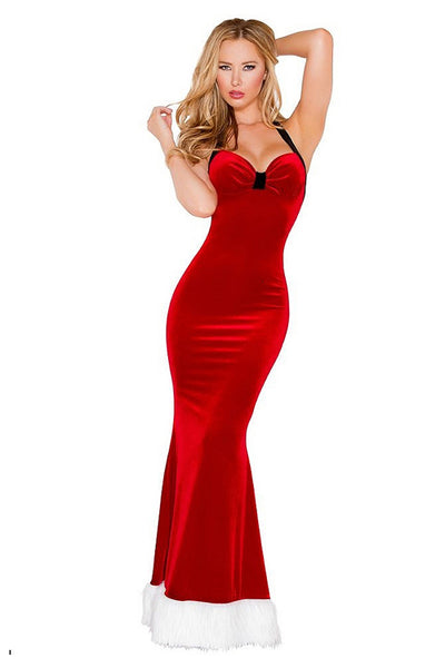 Charming Christmas Long Dress Red Velvet Halter Gown - Sins & Temptations