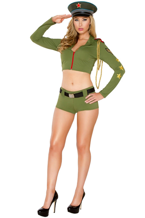 Sultry Army Babe Costume Set Long Sleeves Front Zipper Tops - Sins & Temptations