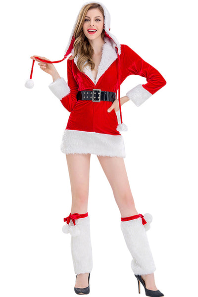 Darling Red Christmas Hooded Mini Dress Fur Trimmed V-Neck Costume Dress - Sins & Temptations