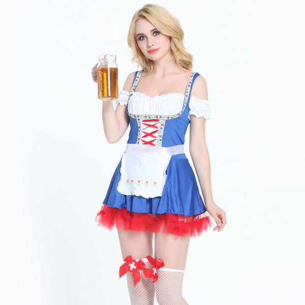Flashy Off Shoulder Ruffle Skater German Beer Stewardess Girl Costume - Sins & Temptations