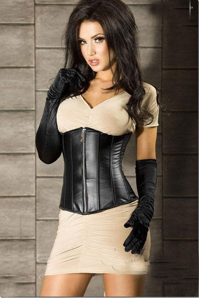 Sexy Zipper Front Leather Underbust Faux Leather Waist Corset - Sins & Temptations