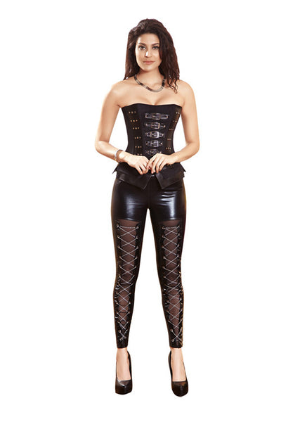12 Plastic Boned Women Black Corset With zipper - Sins & Temptations