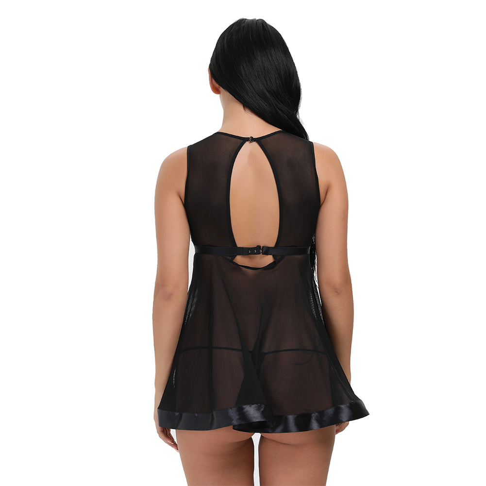 Tempting Black Mesh Keyhole Back With Hook Babydoll - Sins & Temptations