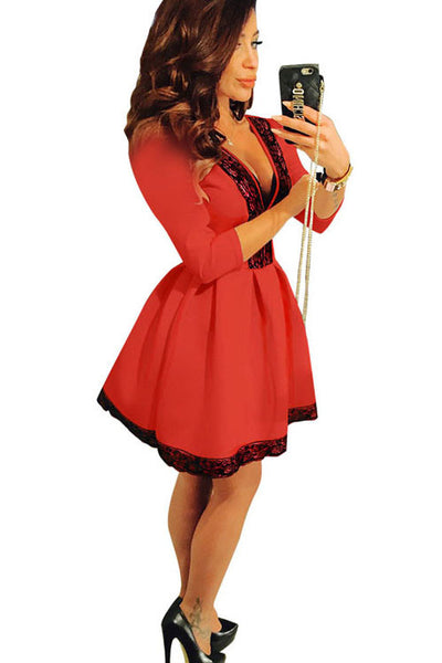 3/4 Sleeve Beautiful Red High Waist A Line Skater Dress Partywear One Piece - Sins & Temptations