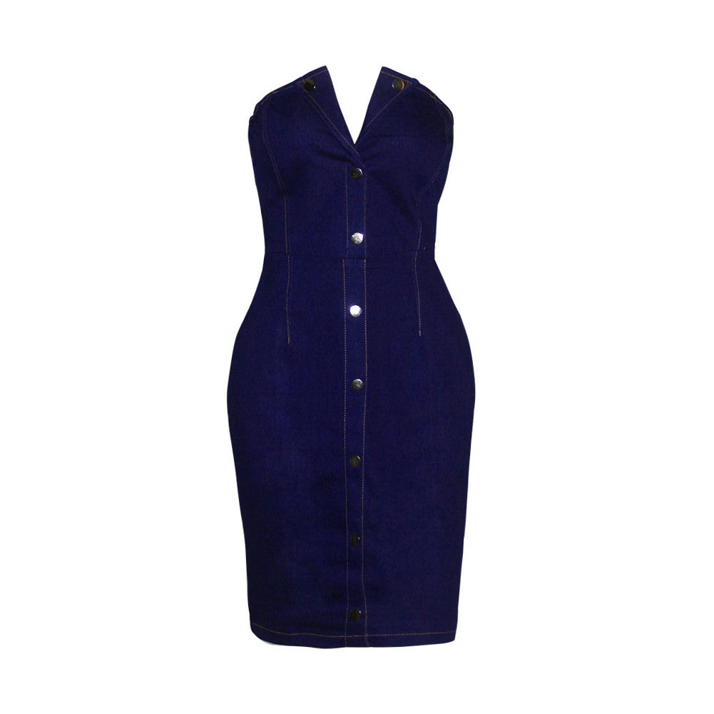Bodycon Going Out Dress Denim Button Back Zipper Partywear - Sins & Temptations