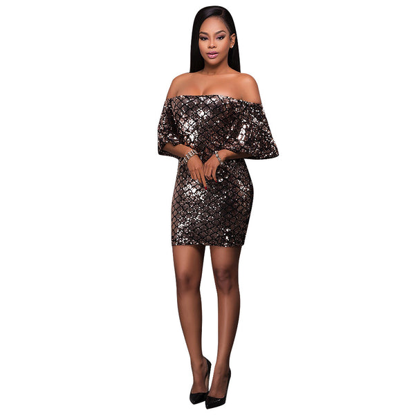 Bandage Sequined Black Aparkly Bodycon Dress Back Zipper Clubwear - Sins & Temptations