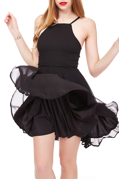 Frisky Back Lace Up Short Black Prom Dress Skater One Piece - Sins & Temptations