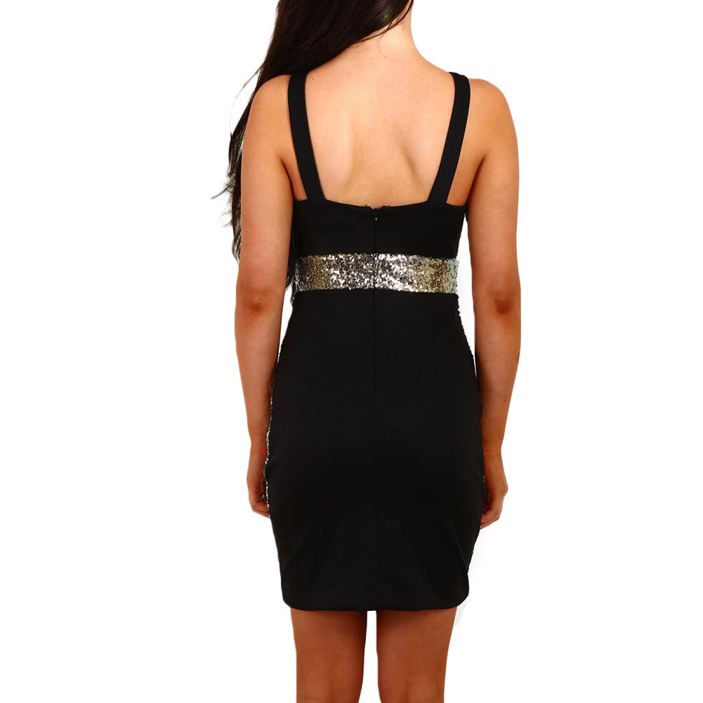 Glittering Gold Prom Sheer Sequin Back Zip Bodycon Dress - Sins & Temptations