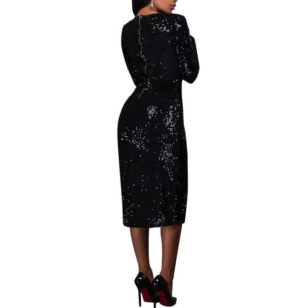 clubwear dresses Brilliant High Slit Bodycon Black Sequin Long Sleeve Dress - Sins & Temptations