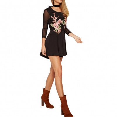 Embroidery Net Yarn Splicing Pleated Long Sleeve Summer Romper Playsuit Dress - Sins & Temptations