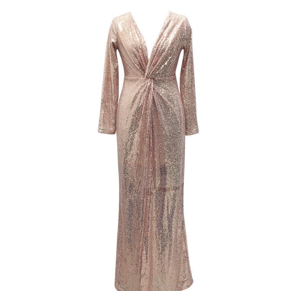 Dainty High Split Rose Gold Long Sleeve Maxi Evening Dress - Sins & Temptations