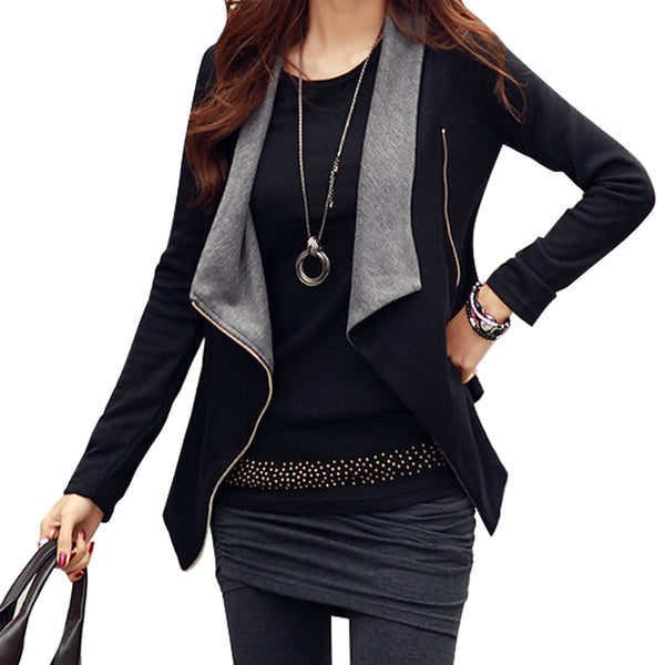 Black Zipper Long Sleeve Casual Big Lapel Womens Cotton Jacket With Pocket - Sins & Temptations