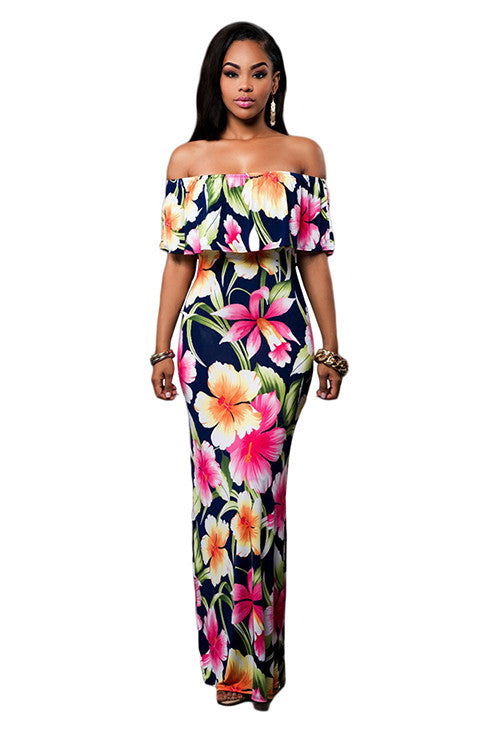 Glittering Floral Print Ruffle Overlay Maxi Slash Neck Dress - Sins & Temptations