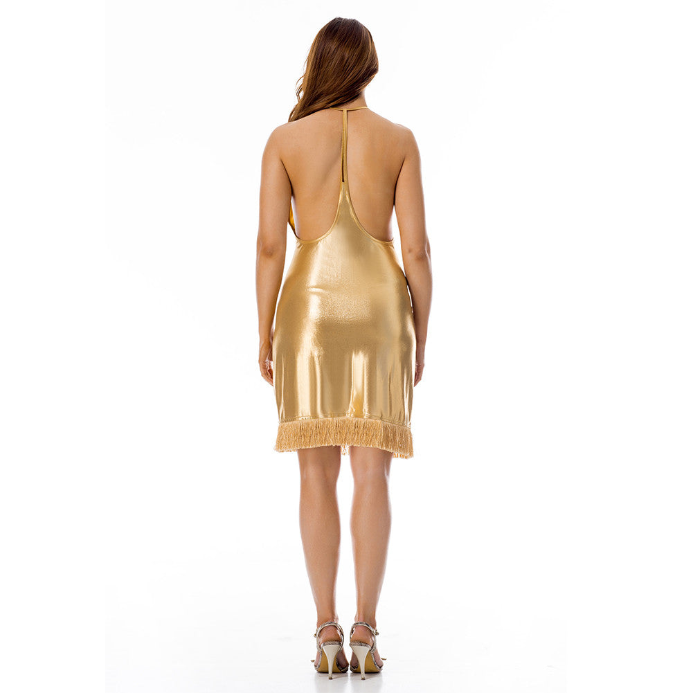 Gorgeous Gold Tassel Mini Dress Backless Halter Neck - Sins & Temptations