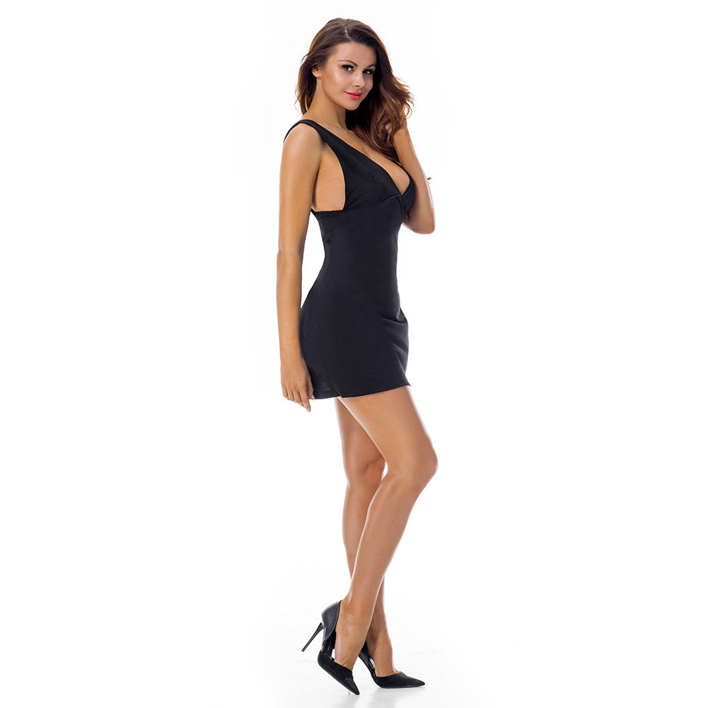 Formal Deep V Neck Thick Strap Black Conceal Zip One Piece Clubwear / Partywear Dress - Sins & Temptations