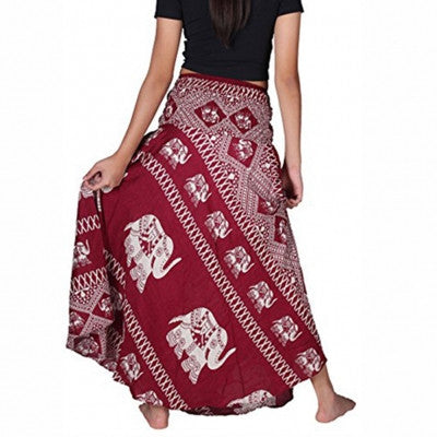 Bohemian Red Thai Elephant Hippie Skirts Waistband Bowknot - Sins & Temptations
