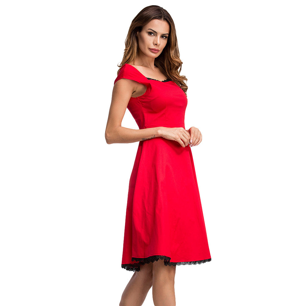 Elegant Lace Trimmed Red Swing Skater Dress Cap Sleeves - Sins & Temptations