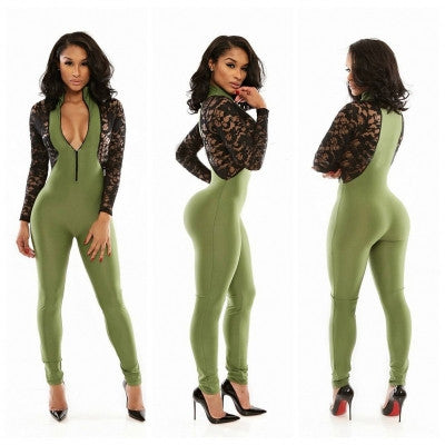 Opening Front Lace Close-fitting Jumpsuit - Sins & Temptations