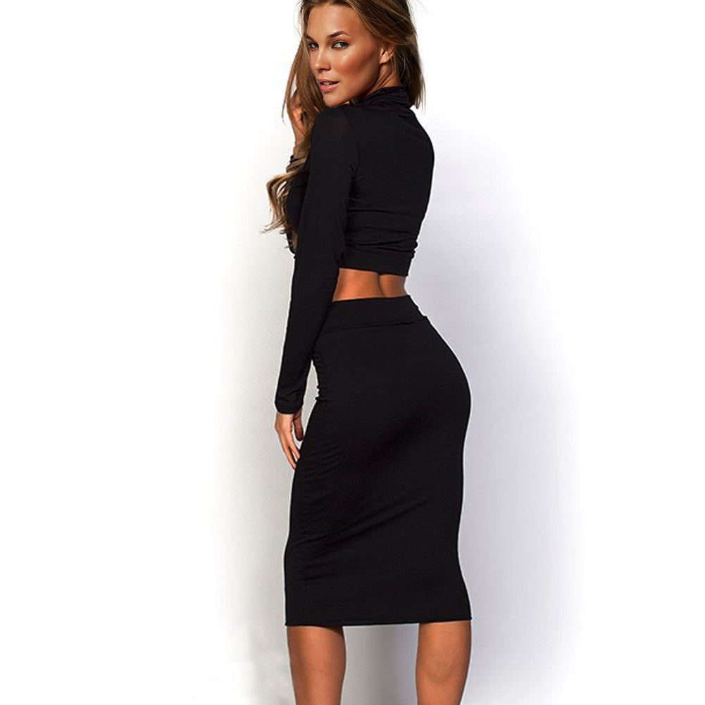 Long Sleeve Sexy Two Pcs Bodycon Dress - Sins & Temptations