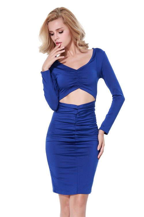 Fashionable Deep V-neck Ruched One Piece Bodycon Dress Partywear - Sins & Temptations