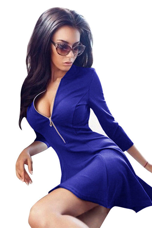 Fashion Ladies Zipper V Neck Dark Mini Blue Skater Dress With Sleeves One Piece - Sins & Temptations