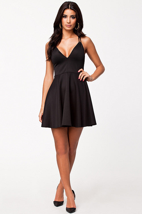 Clearance Black Off Shoulders Skater One Piece Clubwear / Partywear - Sins & Temptations