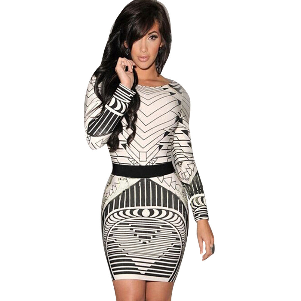 Abstract Fashion Full Sleeve Ladies Bodycon Dress - Sins & Temptations