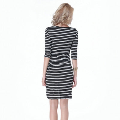 White and Black Stripes Half Sleeve High Thigh Slit Up Bodycon Dress - Sins & Temptations