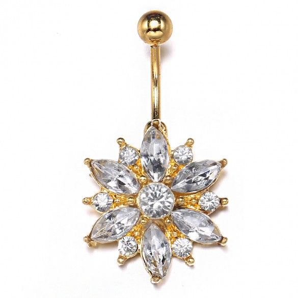 Gold Color Alloy Floral Resin Rhinestone Sexy Body Navel Ring - Sins & Temptations
