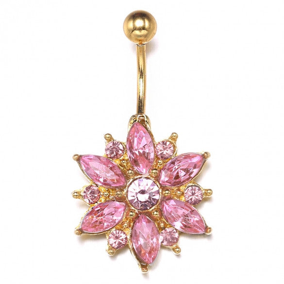 Gold Pink Color Alloy Floral Resin Rhinestone Sexy Body Navel Ring - Sins & Temptations