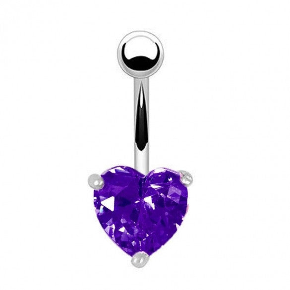 Alloy Heart Resin Blue Rhinestone Sexy Body Navel Ring Piercing Jewelry - Sins & Temptations