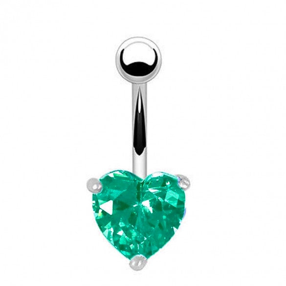 Alloy Heart Resin Green Rhinestone Sexy Body Navel Ring Piercing Jewelry - Sins & Temptations