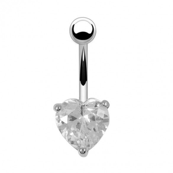 Alloy Heart Resin White Rhinestone Sexy Body Navel Ring Piercing Jewelry - Sins & Temptations