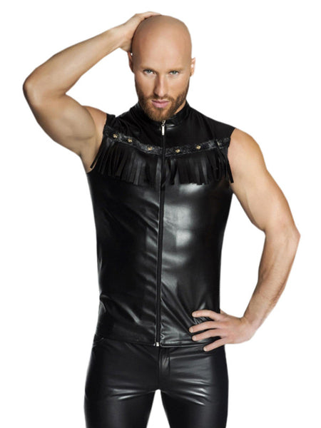 Mens Fashion Black Gothic Leather Shirt - Sins & Temptations