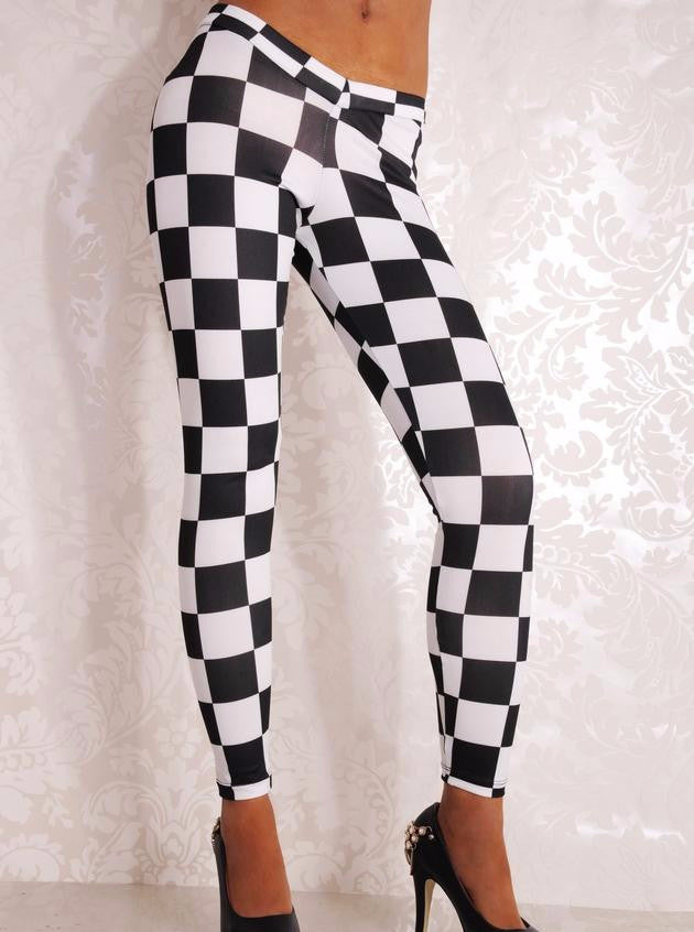 Chequered Fashion Leggings Gothic Pants - Sins & Temptations