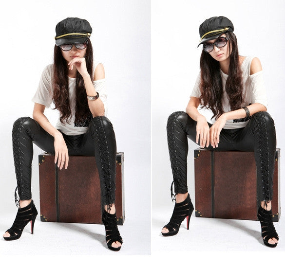 Designer Womens Faux Leather Leggings - Sins & Temptations