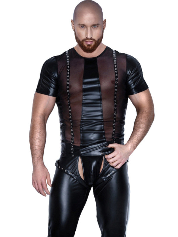 Sexy Black Gothic  Men Vinyl Tops - Sins & Temptations