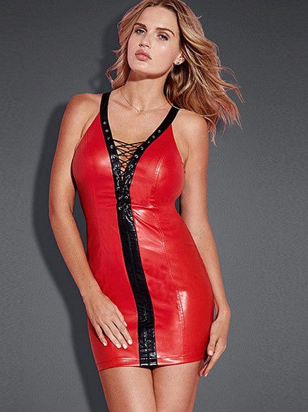 Sexy Red Vinyl Party Dress - Sins & Temptations - 1