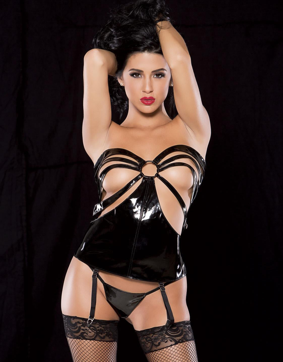 Two-piece Strappy Open Cup Vinyl Corset - Sins & Temptations