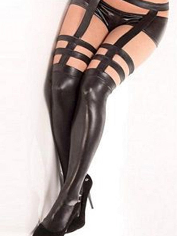 Sexy Black Faux Leather Leggings Stocking - Sins & Temptations
