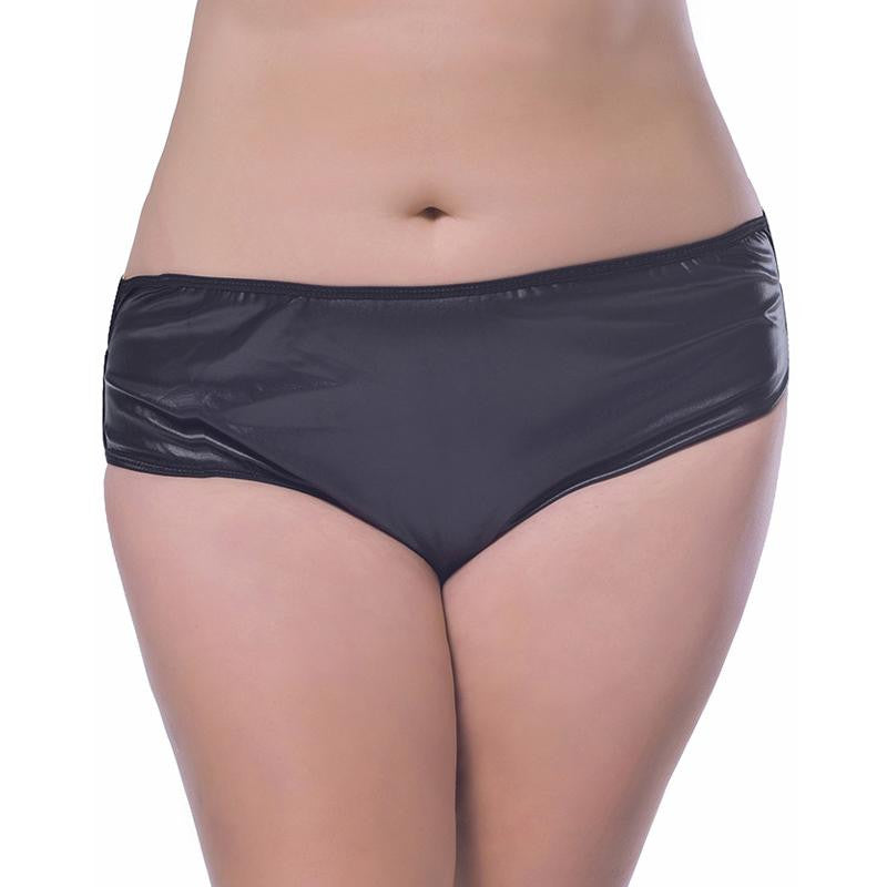 Plus Size XL-6XL Black Sexy Vinyl Pants Lingerie - Sins & Temptations