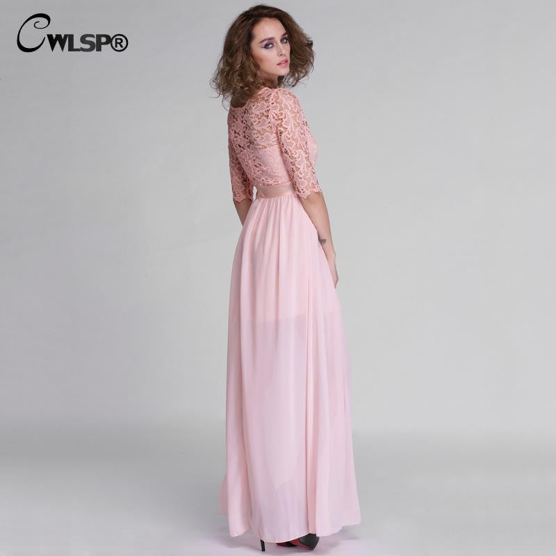 Elegant Lace Long Maxi Dress Hollow Out Chiffon Half sleeve Evening Wedding Party Dress - Sins & Temptations
