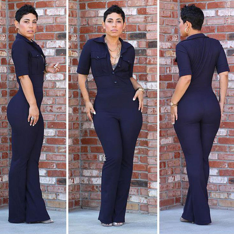 New Arrivals Button Elegant Jumpsuit Romper Fashion Summer, Casual Work Clothing - Sins & Temptations