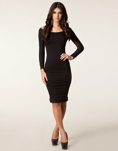 Black Club Dress Long Sleeve Backless - Sins & Temptations