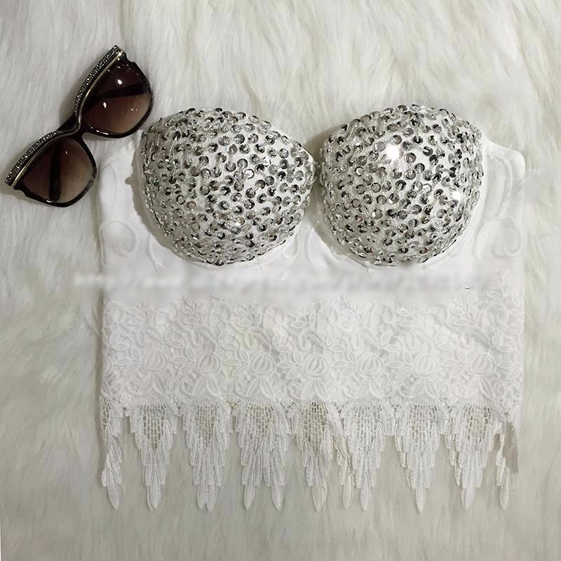 New Diamonds Embroidery Lace Bralet Women's Bustier Bra Cropped Top Vest - Sins & Temptations