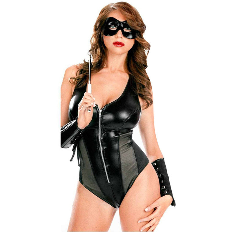 Faux Leather Lingerie with gloves - Sins & Temptations